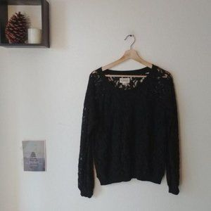Denim & Supply Black Lace Long Sleeved Top